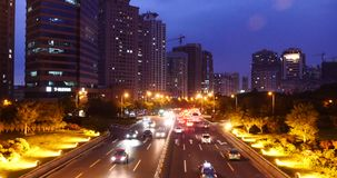 4k Modern urban city busy traffic jams night,neon highway street&building. stock video