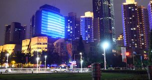 4k Modern urban city busy traffic night,neon highway street& business building. stock footage