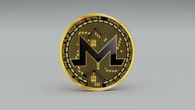 4k Monero硬币XMR隐藏货币商标3D转动财务金钱事务 皇族释放例证