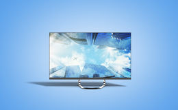 4k monitor 3d render image on blue. Background Royalty Free Stock Photos