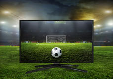 4k monitor isolated on white. Watching smart tv translation of football game Stock Photos