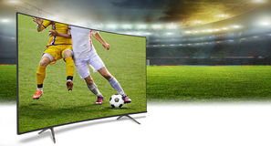4k monitor isolated on white. Watching smart tv translation of football game Royalty Free Stock Photo