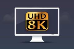 8K Monitor ultra HD auf Wolkendesign Lizenzfreie Stockfotografie