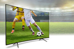 4k monitor watching smart tv translation. Of football game. Concept Royalty Free Stock Image