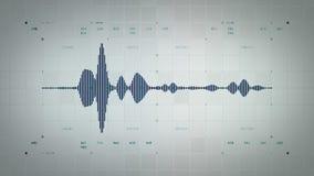 4K Mono Błękitny Lite Audio Waveform ilustracji