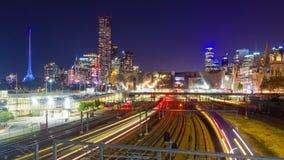 4k motie timelapes video van spoorweg in een moderne stad stock video