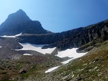 4k Rocky Mountain high glacier in the summer. 4k Mountain glacier park high forest with peak in background Stock Photos