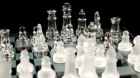 4K. Move the elephant in chess  on black stock footage