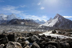 4K. Movement of the clouds on the mountains Everest, Gyazumba Glacier, Himalayas. stock footage