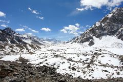 4K. Movement of the clouds on the mountains Everest, Renjo Pass. Himalayas stock footage