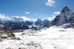 4K. Movement of the clouds on the mountains Everest, Renjo Pass. Himalayas. stock video footage