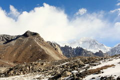 4K. Movement of the clouds on the mountains Gyazumba Glacier, Himalayas. stock video footage