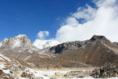4K. Movement of the clouds on the mountains Gyazumba Glacier, Himalayas. stock video
