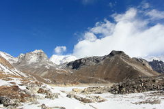 4K. Movement of the clouds on the mountains Gyazumba Glacier, Himalayas stock video