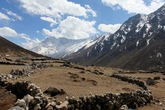 4K. Movement of the clouds on the mountains Kongde Ri, Himalayas stock footage