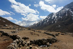 4K. Movement of the clouds on the mountains Kongde Ri, Himalayas stock video
