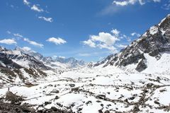 4K. Movement of the clouds on the mountains Ngozumpa Glacier, Himalayas stock video footage