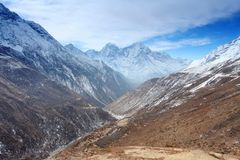 4K. Movement of the clouds on the mountains Thaog, Himalayas, Nepal