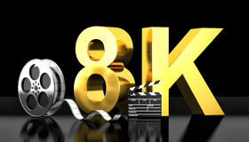 8k movie concept. Cinema 8k concept 3d rendering image royalty free illustration