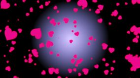4K Moving motion pink heart with pastel background like sakura drop in spring season. Motion graphic and animation background. Val. Entine Day and wedding stock footage