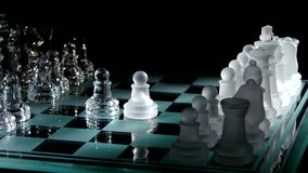 4K. Moving pieces on the chessboard stock video
