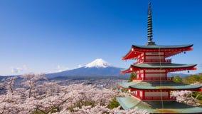 4K Mt Timelapse  与Chureito塔的富士在春天,吉田市,日本 股票视频