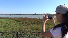 4K, mujer asiática que toma la fotografía con el smartphone del pantano en Doñana metrajes