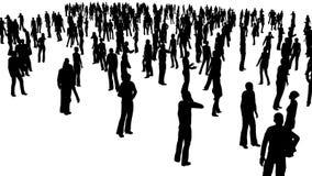 4k a multidão dos povos do suporte, tudo na silhueta, em um fundo branco ilustração do vetor