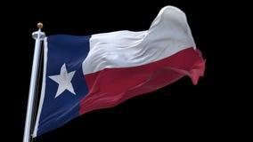 4k naadloos Texas Flag met vlaggestok die in wind golven Alpha- inbegrepen kanaal stock videobeelden