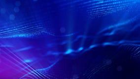 4k naadloze 3d animatie als achtergrond sc.i-FI met gloeddeeltjes en diepte van gebied, bokeh en lichteffecten glowing vector illustratie