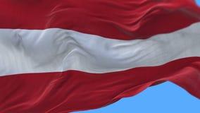 4k naadloze Dichte omhooggaand van de vlag van Oostenrijk het langzame golven in wind Alpha- inbegrepen kanaal stock video