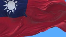 4k naadloze Dichte omhooggaand van de vlag van Taiwan het langzame golven in wind Alpha- inbegrepen kanaal stock video