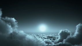 4k nachtvlucht in wolkenmassa, maan & hemelhemel, hoge hoogtekosmische ruimte vector illustratie