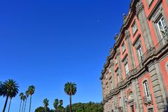 Napoli Capodimonte. 4K Naples, Capodimonte, Royal Palace, park with palm trees and walking boulevards royalty free stock photography