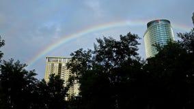 4K Naturalna tęcza drapacz chmur Korporacyjny budynek z drzewami w Taipei zbiory wideo