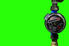 4K. New water meter with green screen. Ultra HD stock video footage