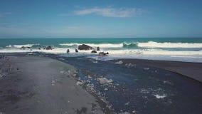 4K New Zealand coast, aerial establishing shot