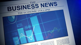 4K. Newspaper with business news. Shallow Depth of field. stock footage