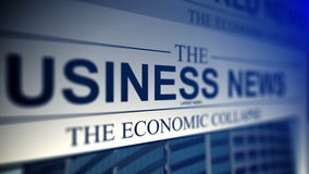 4K. Newspaper with business news titles. stock footage