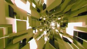 4K niecka Przez Futurystycznego wnętrze z Lekkimi promieniami zbiory wideo