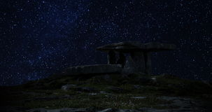 A 4K night lapse of the famous Poulnabrone Dolmen in the Burren County Clare Ireland. Includes amazing footage of the milky way an stock video footage