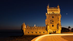 4K night timelapse of the Belem Tower in Lisbon - Portugal - UHD stock video
