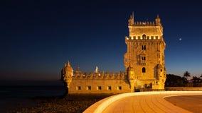 4K night timelapse of the Belem Tower in Lisbon - Portugal - UHD. 4K night timelapse of the Belem Tower in Lisbon - Portugal  UHD stock video