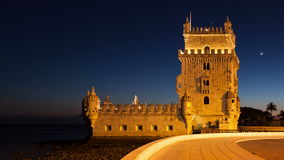 4K night timelapse of the Belem Tower in Lisbon - Portugal - UHD stock video footage