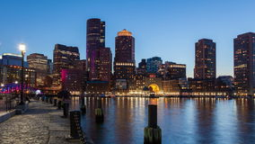 4K Night timelapse of Boston skyline - Massachusetts - USA stock video footage