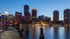 4K Night timelapse of Boston skyline - Massachusetts - USA stock footage