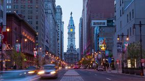 4K night timelapse of Philadelphia streets - Philly time laspe - Pennsylavania USA stock video