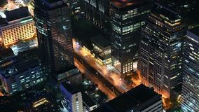 4K Night timelapse of urban downtown business and finance district in Bangkok.  stock footage