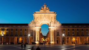 4k night timelaspe of commerce square - Parça do commercio in Lisbon - Portugal - UHD stock footage