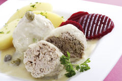 Königsberger Klopse, meatballs with caper sauce Royalty Free Stock Image